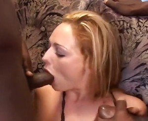 Redhead Taking Two Black Dicks
