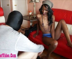 dirty black girl giving footjob and