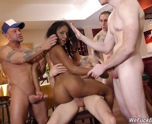 Young black slut gets gang bang and